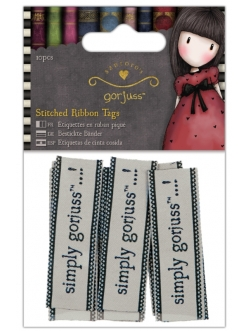 Бирки тканевые для скрапбукинга Simply Gorjuss, 60x20 мм, 10 шт., Papermania