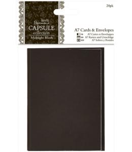 Набор заготовок для открыток с конвертами Midnight Blush, 20 шт, 7,5х10,5 см, Papermania