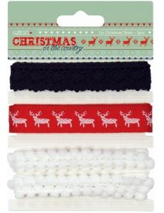 Набор тесьмы с рождественским декором Christmas in the Country, 3 штуки по 1 м, DoCrafts