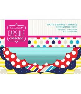 Набор высечки фигурной для скрапбукинга Spots & Stripes Brights, 18 штук, Papermania