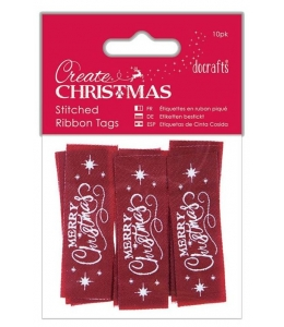 """Бирки тканевые для скрапбукинга """"Merry Christmas"""", коллекция Create Christmas, 10 шт., DoCrafts"""