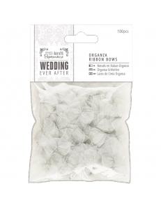 Набор серебристых бантиков из органзы Wedding 100 шт., DoCrafts