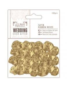 Набор розочек сатиновых золотых Wedding 100 шт., DoCrafts