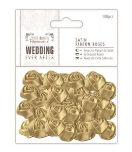 Набор розочек сатиновых Wedding, цвет золото 100 шт., DoCrafts