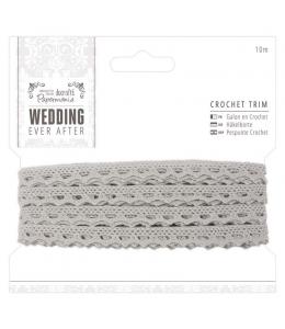Тесьма декоративная кружевная узкая Wedding 9 мм, 10 м, DoCrafts