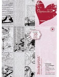 Набор бумаги для скрапбукинга Bookprint, 14,8х21 см, 32 листа, Papermania