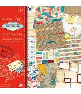 Набор бумаги для скрапбукинга, коллекция All Aboard, 15,2х15,2 см, 32 листа, Papermania
