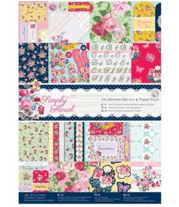 Набор бумаги и высечки для скрапбукига, коллекция Simply Floral, А4, 48 листов, Papermania