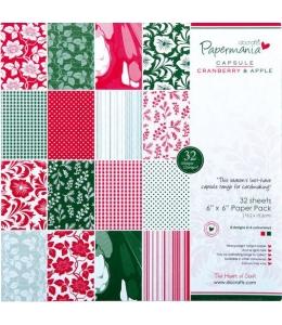 Набор бумаги для скрапбукинга Cranberry and apple, 15,2х15,2 см, 32 листа, DoCrafts