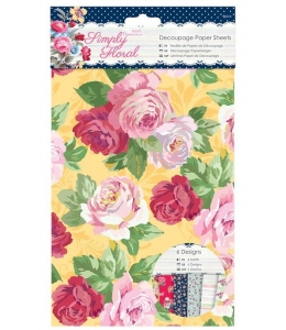 Набор тонкой бумаги для скрапбукига, коллекция Simply Floral, 6 листов формат А3, Papermania