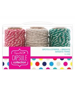 Шнуры декоративные, коллекция Spots & Stripes Brights, 3 шт. по 20 м, Papermania