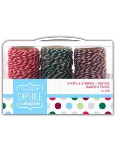 Шнуры декоративные Spots & Stripes Festive, 3 шт. по 20 м, Papermania