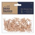 Декоративные деревянные мини прищепки Bare Basics, 2,5 см, 50 шт, DoCrafts