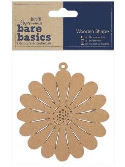 Декоративная плоская фигурка Цветок, 9 см, МДФ, коллекция Bare Basics, Papermania
