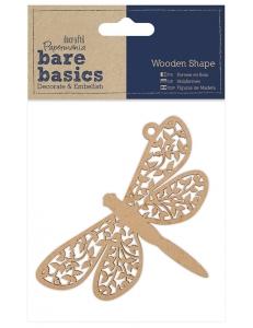 Плоская фигурка Стрекоза, 7х11 см, МДФ, коллекция Bare Basics, Papermania