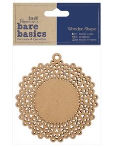Плоская фигурка Кружевная салфетка, 9 см, МДФ, коллекция Bare Basics, Papermania