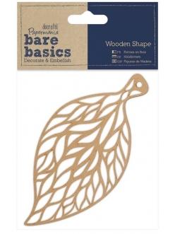 Декоративная плоская фигурка Листочек, 7х14 см, МДФ, коллекция Bare Basics, Papermania