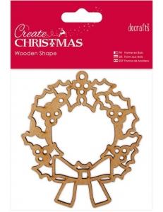 Плоская фигурка Рождественский венок, Create Christmas, 9х10 см, МДФ, DoCrafts
