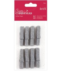 Декоративные новогодние мини прищепки с блестками Create Christmas серебристый, 8 шт, DoCrafts