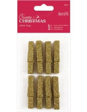 Декоративные новогодние мини прищепки с блестками Create Christmas золотой, 8 шт, DoCrafts
