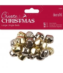 Новогодние бубенчики большие Create Christmas, золото и серебро, 20 шт, DoCrafts