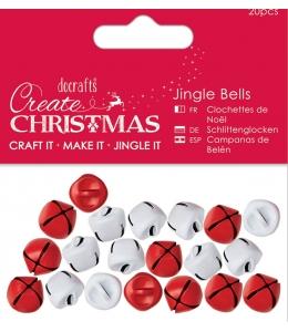 """Новогодние бубенчики """"Jingle Bells"""", белые и красные Create Christmas, 20 шт, DoCrafts (Великобритания)"""