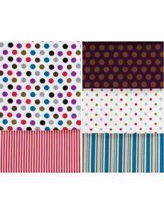 Набор ткани для скрапбукингаSpots & Stripes Jewels, 5 штук по 460 х 560 мм,  DoCrafts