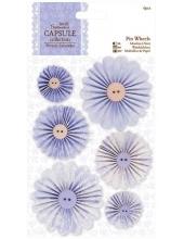 Набор декоративных украшений Цветочки круглые, коллекция French Lavender, 6 штук, Papermania