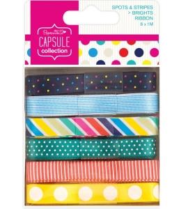 Набор лент Spots & Stripes Brights, 6 штук по 1 м, DoCrafts