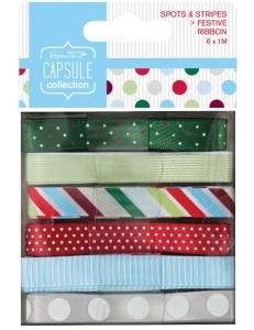 Набор лент Spots & Stripes Festive, 6 штук по 1 м, DoCrafts
