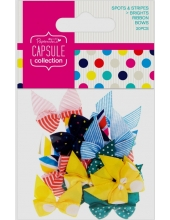 Набор бантиков Spots & Stripes Brights, 20 штук, DoCrafts