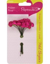 Цветы для скрапбукинга бумажные, Розы темно-розовые, 12 шт,  Docrafts