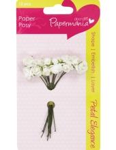 Цветы для скрапбукинга бумажные, Розы белые, 12 шт,  Docrafts