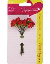 Цветы для скрапбукинга бумажные, Розы красные, 12 шт,  Docrafts