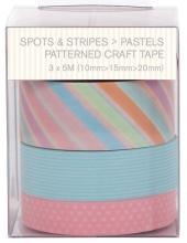 Набор лент самоклеящихся Spots & Stripes Pastels, 3шт по 5 м, Papermania