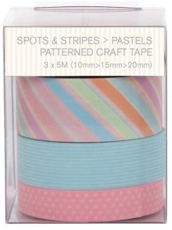 Скотч с принтом Spots & Stripes Pastels, 3шт по 5 м, Papermania