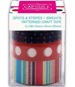 Набор лент самоклеящихся Spots & Stripes Brights, 3шт по 5 м, Papermania