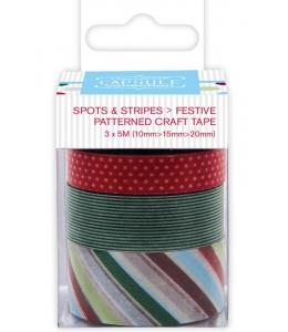 Набор лент самоклеящихся Spots & Stripes Festive, 3шт по 5 м, Papermania
