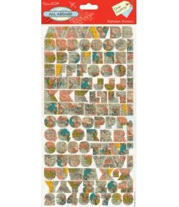 "Набор наклеек из кардстока ""Алфавит"", коллекция All Aboard, 1 лист 15х29,5 см, DoCrafts"