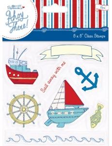 """Набор силиконовых штампов с морским декором """"Плывем со мной!"""", коллекция Ahoy There, DoCrafts"""