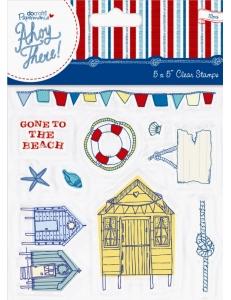"""Набор силиконовых штампов с морским декором """"На пляж!"""", коллекция Ahoy There, DoCrafts"""