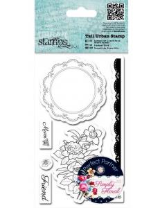 Набор резиновых штампов Цветы и салфетка, коллекция Simply Floral, Papermania