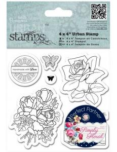 Набор резиновых штампов Розы, коллекция Simply Floral, Papermania