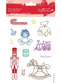 Набор новогодних силиконовых штампов Игрушки на Новый год, Papermania
