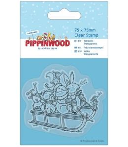 """Новогодний силиконовый штамп """"Катание на санках"""" Pippinwood Christmas"""