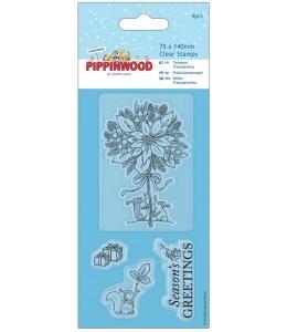 """Набор новогодних силиконовых штампов """"Пуансеттия"""" Pippinwood Christmas"""