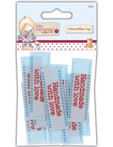 "Бирки тканевые для скрапбукинга ""Handmade With Love"", коллекция Tilly Daydream, 60x20 мм, 10 шт., DoCrafts"