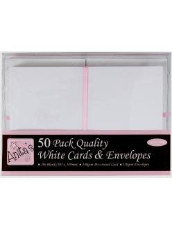 Набор заготовок для открыток с конвертами, 10,5х14,9 см, белый, ANITA'S, 50 шт