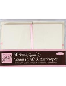 Набор заготовок для открыток с конвертами, 10,5х14,9 см, кремовый, ANITA'S, 50 шт
