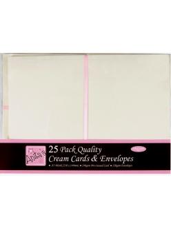 Набор заготовок для открыток с конвертами, 14,8х21,0 см, кремовый, ANITA'S, 25 шт